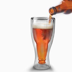 Fred Hopside Down Beer Bottle Glass